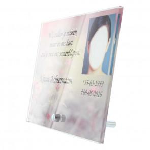 Gedenk tafel plexiglas 18 x 13 cm