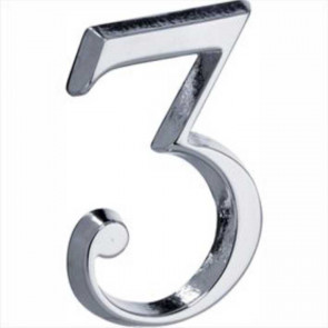 Chroom huisnummer 3 glans