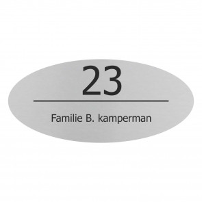RVS naamplaatje 20 x 9 cm