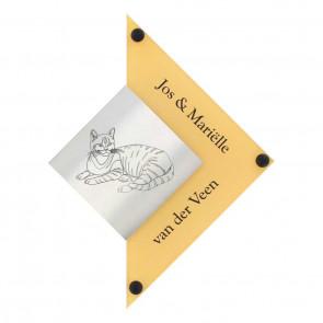 RVS + plexiglas naambord 210 x 280 mm